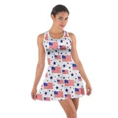 Flag Of The Usa Pattern Cotton Racerback Dress by EDDArt