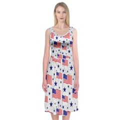 Flag Of The Usa Pattern Midi Sleeveless Dress