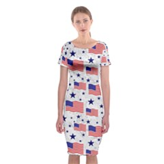 Flag Of The Usa Pattern Classic Short Sleeve Midi Dress by EDDArt