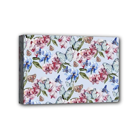 Watercolor Flowers Butterflies Pattern Blue Red Mini Canvas 6  X 4  by EDDArt