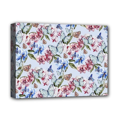 Watercolor Flowers Butterflies Pattern Blue Red Deluxe Canvas 16  X 12   by EDDArt