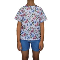 Watercolor Flowers Butterflies Pattern Blue Red Kids  Short Sleeve Swimwear by EDDArt