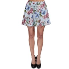 Watercolor Flowers Butterflies Pattern Blue Red Skater Skirt by EDDArt