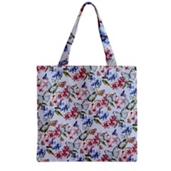 Watercolor Flowers Butterflies Pattern Blue Red Grocery Tote Bag by EDDArt