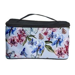 Watercolor Flowers Butterflies Pattern Blue Red Cosmetic Storage Case by EDDArt
