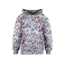 Watercolor Flowers Butterflies Pattern Blue Red Kids  Pullover Hoodie by EDDArt