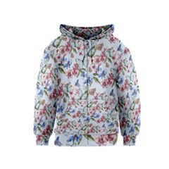 Watercolor Flowers Butterflies Pattern Blue Red Kids  Zipper Hoodie by EDDArt