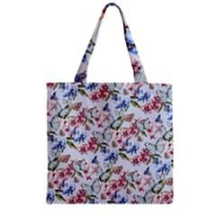 Watercolor Flowers Butterflies Pattern Blue Red Zipper Grocery Tote Bag by EDDArt