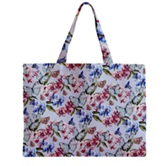 Watercolor Flowers Butterflies Pattern Blue Red Zipper Mini Tote Bag by EDDArt