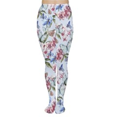 Watercolor Flowers Butterflies Pattern Blue Red Women s Tights by EDDArt