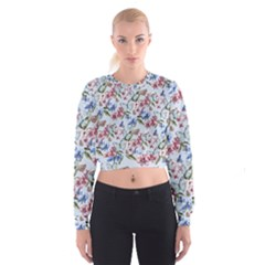Watercolor Flowers Butterflies Pattern Blue Red Cropped Sweatshirt by EDDArt