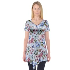 Watercolor Flowers Butterflies Pattern Blue Red Short Sleeve Tunic  by EDDArt