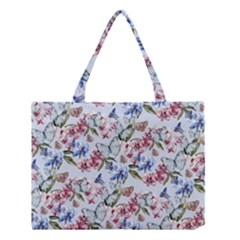 Watercolor Flowers Butterflies Pattern Blue Red Medium Tote Bag by EDDArt