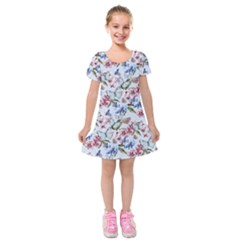 Watercolor Flowers Butterflies Pattern Blue Red Kids  Short Sleeve Velvet Dress by EDDArt