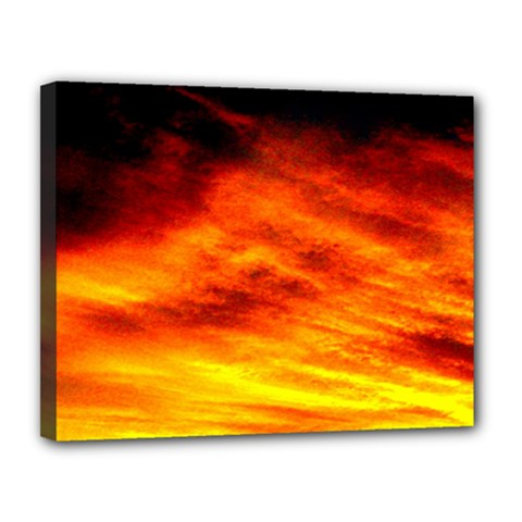 Black Yellow Red Sunset Canvas 14  X 11  by Costasonlineshop