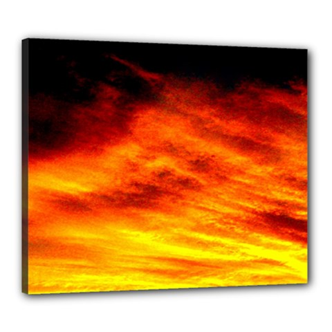 Black Yellow Red Sunset Canvas 24  X 20