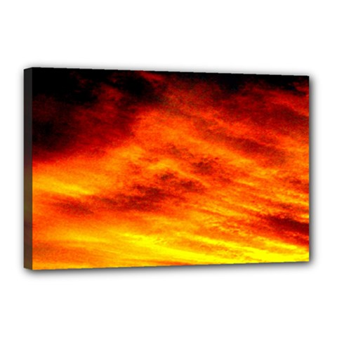 Black Yellow Red Sunset Canvas 18  X 12  by Costasonlineshop