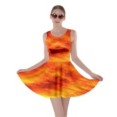 Black Yellow Red Sunset Skater Dress by Costasonlineshop