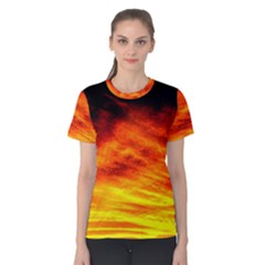 Black Yellow Red Sunset Women s Cotton Tee