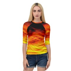 Black Yellow Red Sunset Quarter Sleeve Tee by Costasonlineshop