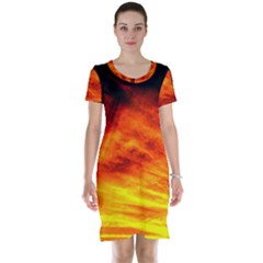 Black Yellow Red Sunset Short Sleeve Nightdress by Costasonlineshop