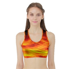 Black Yellow Red Sunset Sports Bra With Border