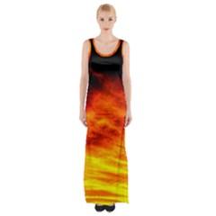 Black Yellow Red Sunset Maxi Thigh Split Dress