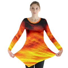 Black Yellow Red Sunset Long Sleeve Tunic  by Costasonlineshop