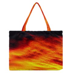 Black Yellow Red Sunset Medium Zipper Tote Bag
