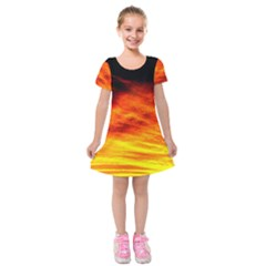 Black Yellow Red Sunset Kids  Short Sleeve Velvet Dress