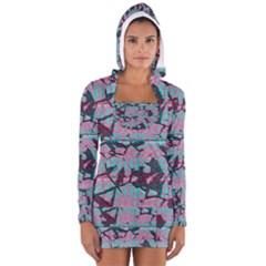 Cracked Tiles             Women s Long Sleeve Hooded T Shirt by LalyLauraFLM