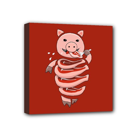 Red Stupid Self Eating Gluttonous Pig Mini Canvas 4  X 4  by CreaturesStore