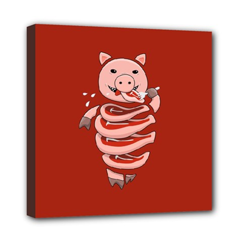 Red Stupid Self Eating Gluttonous Pig Mini Canvas 8  X 8  by CreaturesStore