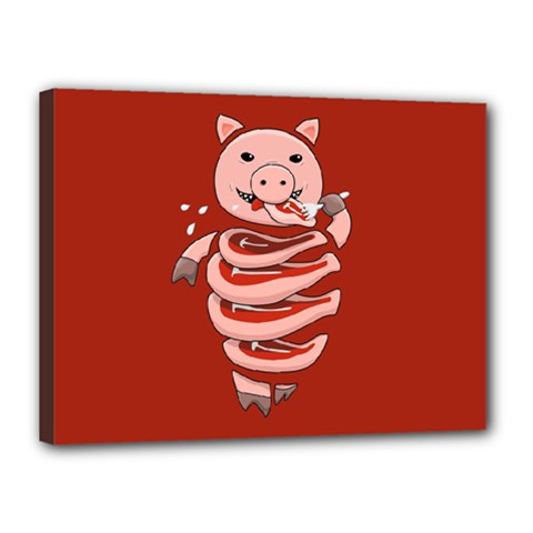 Red Stupid Self Eating Gluttonous Pig Canvas 16  X 12  by CreaturesStore