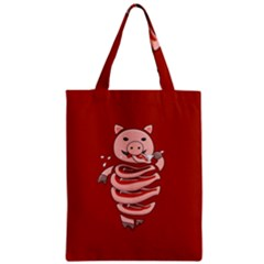 Red Stupid Self Eating Gluttonous Pig Classic Tote Bag by CreaturesStore