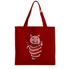 Red Stupid Self Eating Gluttonous Pig Zipper Grocery Tote Bag by CreaturesStore