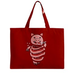 Red Stupid Self Eating Gluttonous Pig Zipper Mini Tote Bag by CreaturesStore