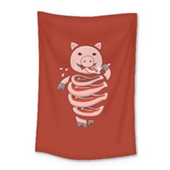 Red Stupid Self Eating Gluttonous Pig Small Tapestry by CreaturesStore