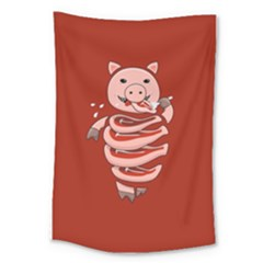Red Stupid Self Eating Gluttonous Pig Large Tapestry by CreaturesStore
