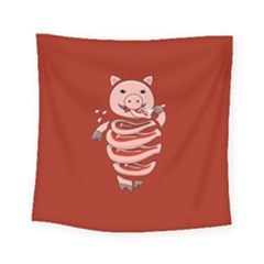 Red Stupid Self Eating Gluttonous Pig Square Tapestry (small) by CreaturesStore