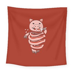 Red Stupid Self Eating Gluttonous Pig Square Tapestry (large) by CreaturesStore