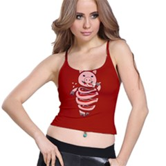 Red Stupid Self Eating Gluttonous Pig Spaghetti Strap Bra Top by CreaturesStore