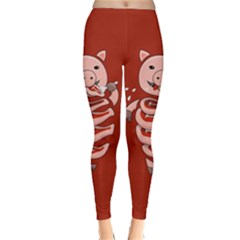 Red Stupid Self Eating Gluttonous Pig Classic Winter Leggings by CreaturesStore