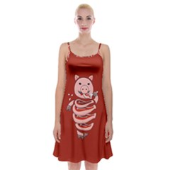 Red Stupid Self Eating Gluttonous Pig Spaghetti Strap Velvet Dress by CreaturesStore