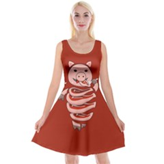 Red Stupid Self Eating Gluttonous Pig Reversible Velvet Sleeveless Dress by CreaturesStore