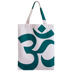 Hindu Om Symbol (teal)  Zipper Classic Tote Bag by abbeyz71