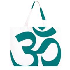 Hindu Om Symbol (teal) Zipper Large Tote Bag by abbeyz71