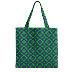 Friendly Retro Pattern A Zipper Grocery Tote Bag by MoreColorsinLife
