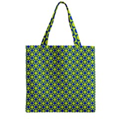 Friendly Retro Pattern C Zipper Grocery Tote Bag by MoreColorsinLife