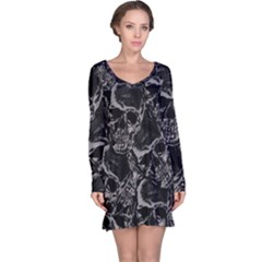 Skulls Pattern Long Sleeve Nightdress